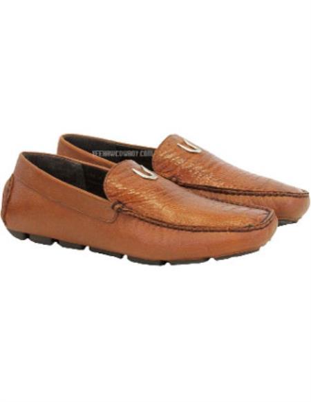 Men's Cognac Handcrafted Cognac Vestigium Genuine Ostrich Leg Loafers
