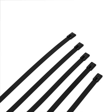 RS PRO Black 316 Stainless Steel Ball Lock Cable Tie, 360mm x 7.9 mm (100)