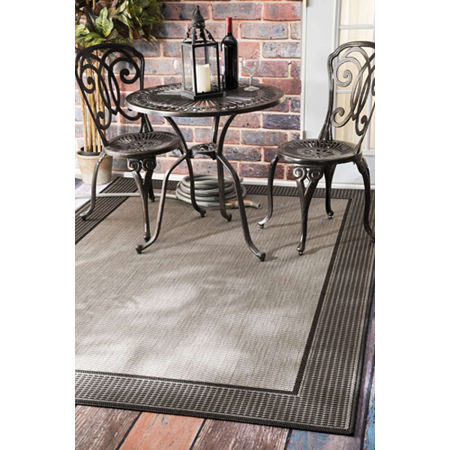nuLoom Machine Made Outdoor Gris Rug, One Size , Gray