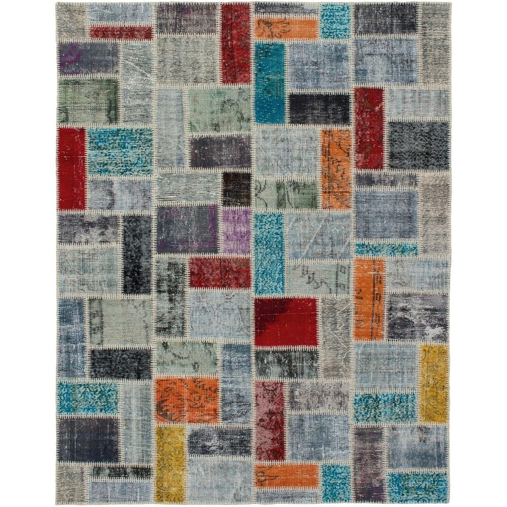 ECARPETGALLERY Hand-knotted Color Transition Patchwork Multi Wool Rug - 5'8 x 7'11 (Multi Color - 5'8 x 7'11)