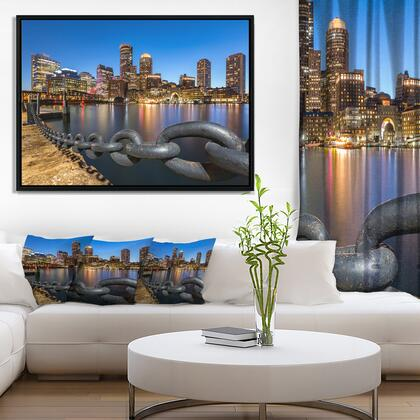 FL8625-42-32-FLB Boston Skyline At Dusk - Cityscape Photo Framed Canvas Print -