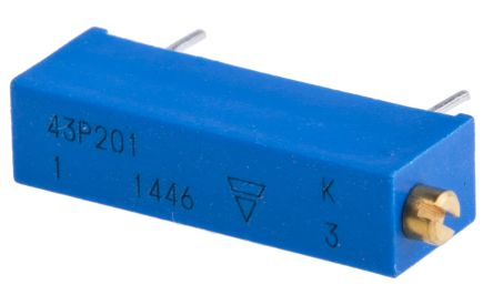 Vishay 43P Series 20-Turn Through Hole Trimmer Resistor with Pin Terminations, 200Ω ±10% 1/2W ±100ppm/°C Side Adjust