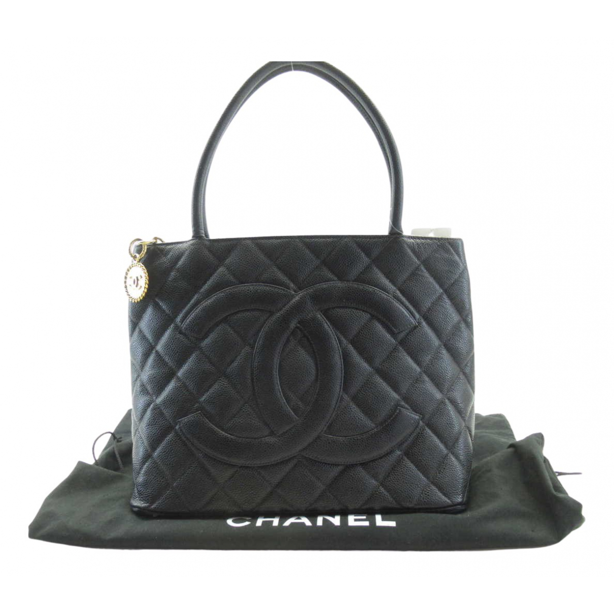 Chanel - Sac a main Medaillon pour femme en cuir - noir