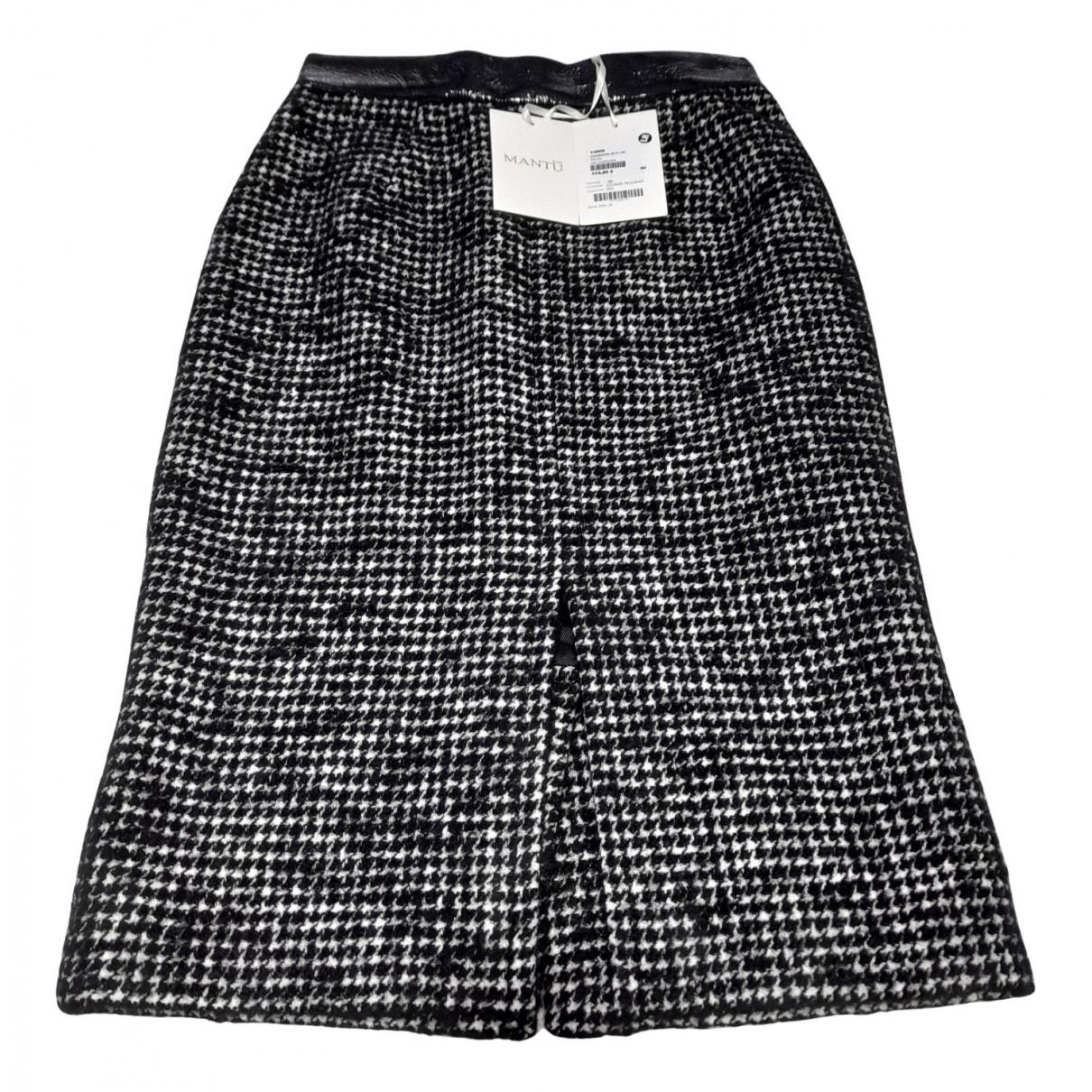 Mantu - Jupe   pour femme en laine - noir