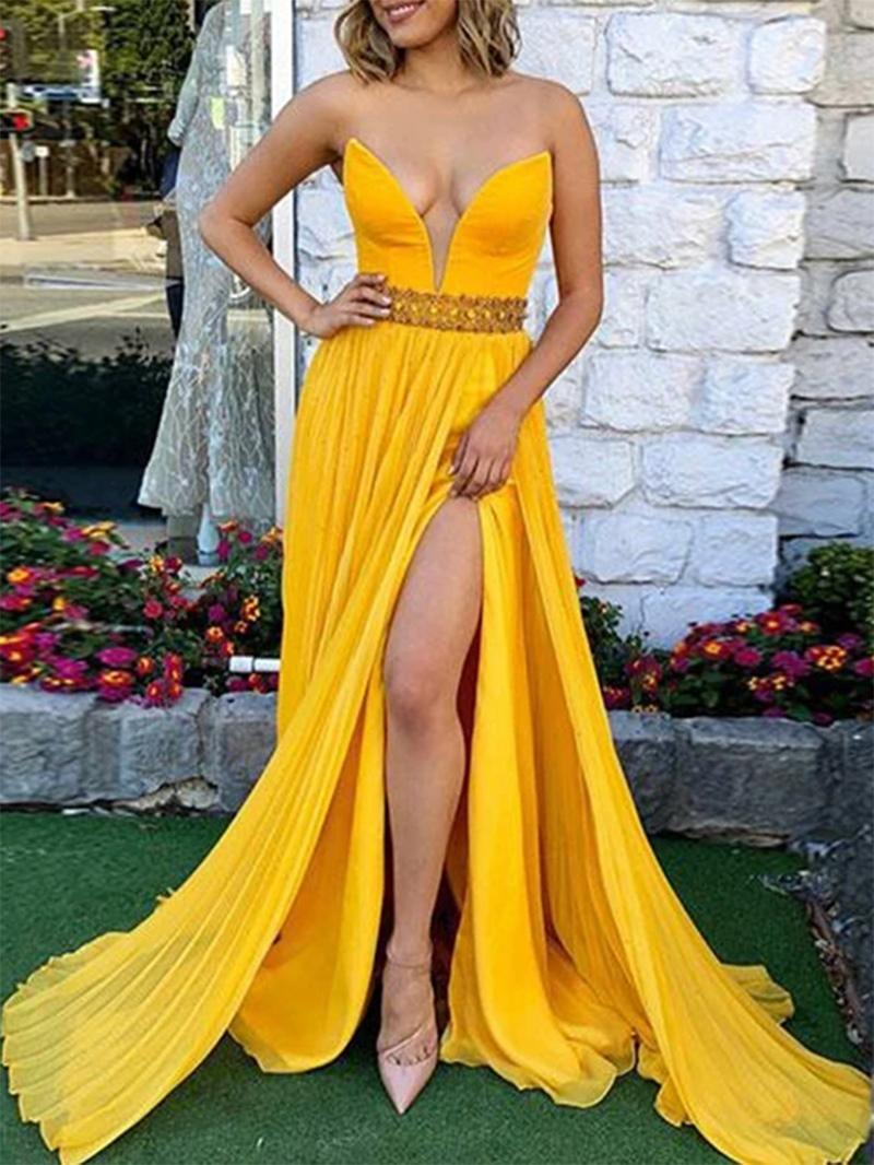 Ericdress Sweep Train Beading Split-Front Prom Dress