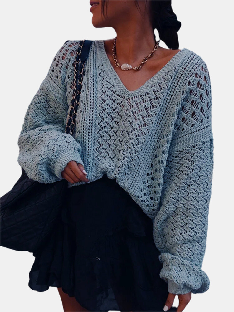 Solid Color V-neck Hollow Out Lantern Sleeve Sweater