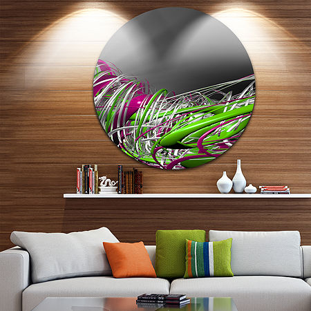 Design Art Fractal 3D Green Purple Stripes CircleMetal Wall Art, One Size , Green