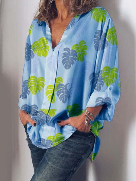Milanoo Blouse For Women Boho White V-Neck Long Sleeve Printed Casual Top