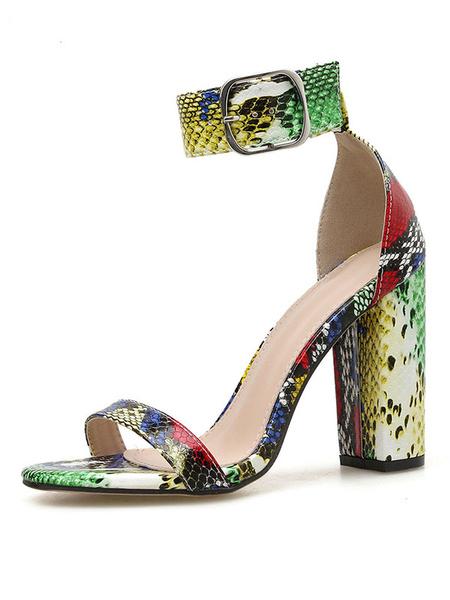 Milanoo Sandalias de tacon con estampado de serpiente Correa de tobillo Zapatos de mujer con punta abierta