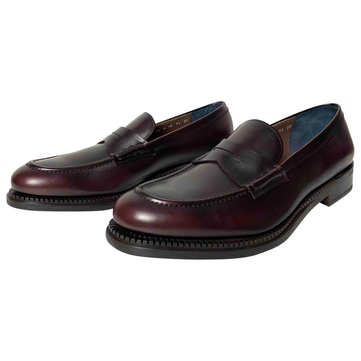 Salvatore Ferragamo N Burgundy Leather Flats for Men 11 UK
