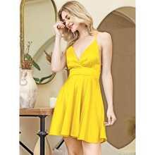 Vestidos Cruzado Liso Amarillo Glamour