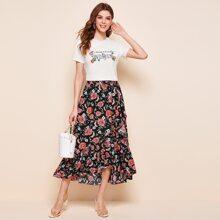 Letter and Floral Print Top & Wrap Flounce Hem Skirt Set