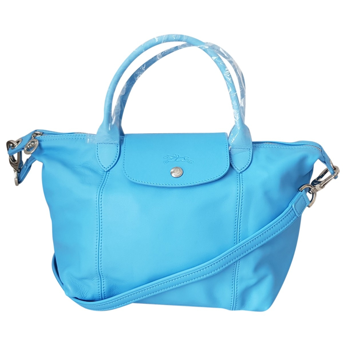 Longchamp Pliage  Blue Leather handbag for Women \N