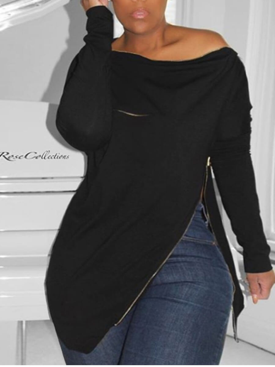 LW Lovely Casual Zipper Design Black Plus Size Hoodie