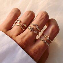 6 Stuecke Ring mit Strass, Stern & Mond Dekor