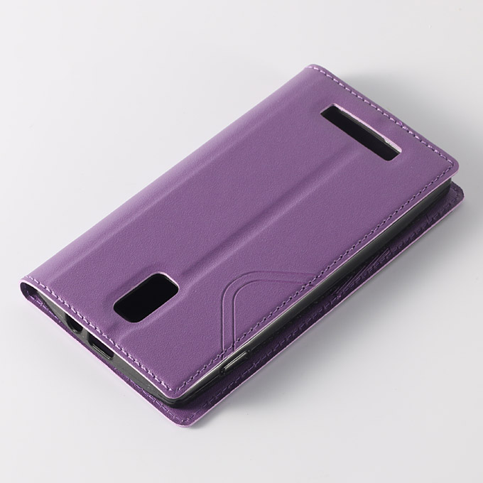 Window View Style Protective PU Leather Case Hard Flip Cover with Back Shell for Blackview Breeze Smartphone - Purple
