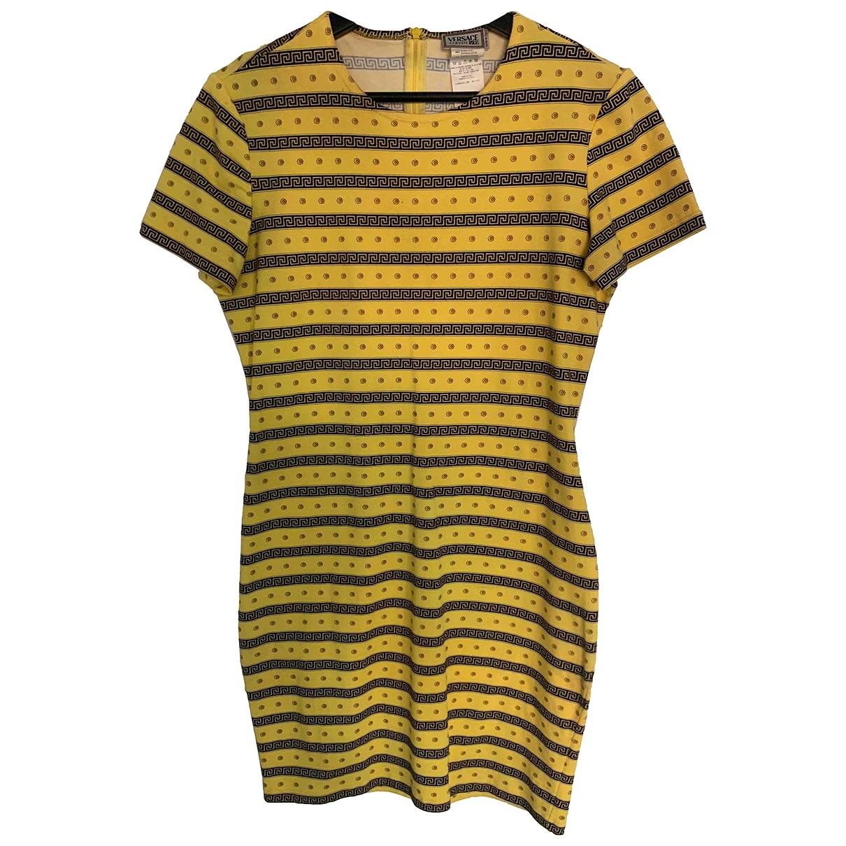 Versace - Robe   pour femme en coton - elasthane - jaune