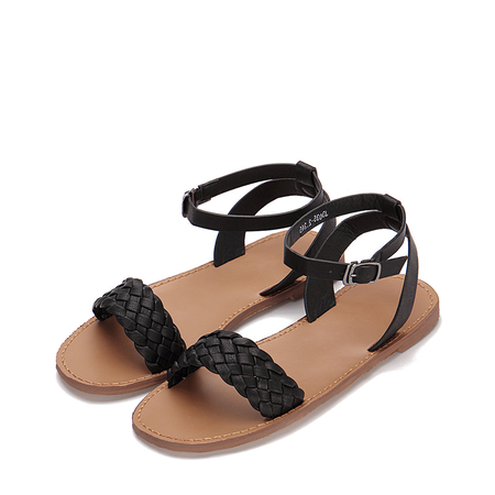 Yoins Black Woven Strap Across Ankle Strap Flat Sandals