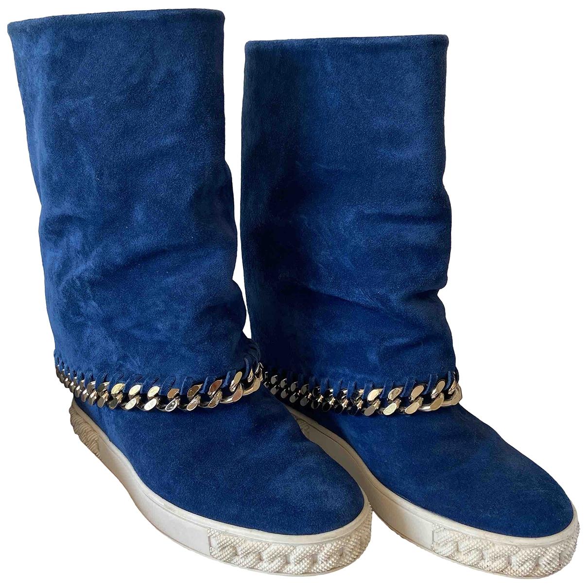 Casadei - Bottes   pour femme en suede - bleu