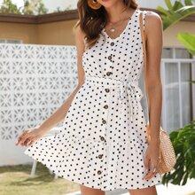 Kleid mit Knopfen, Guertel und Punkten Muster