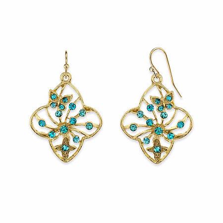 1928 Blue Butterfly Drop Earrings, One Size , Green