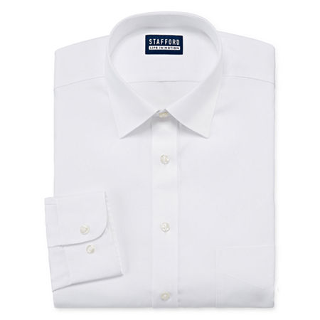 Stafford All Season Cool Max Mens Point Collar Long Sleeve Stretch Cooling Moisture Wicking Dress Shirt Big And Tall, 22 38-39, White