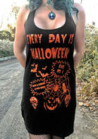 Everyday Is Halloween Pumpkin Skull Mini Dress - Black