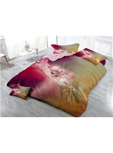 Dandelion and Dewdrop Wear-resistant Breathable High Quality 60s Cotton 4-Piece 3D Bedding Sets