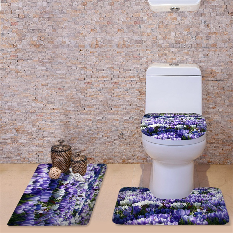 3D Flourishing Orchids Printed Flannel 3-Piece Toilet Seat Cover