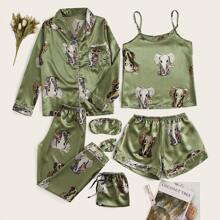 7Pcs Elephant Print Satin Pajama Set