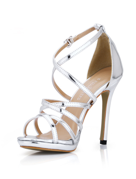Milanoo Grace Black Strappy Glazed PU High Heel Dress Sandals