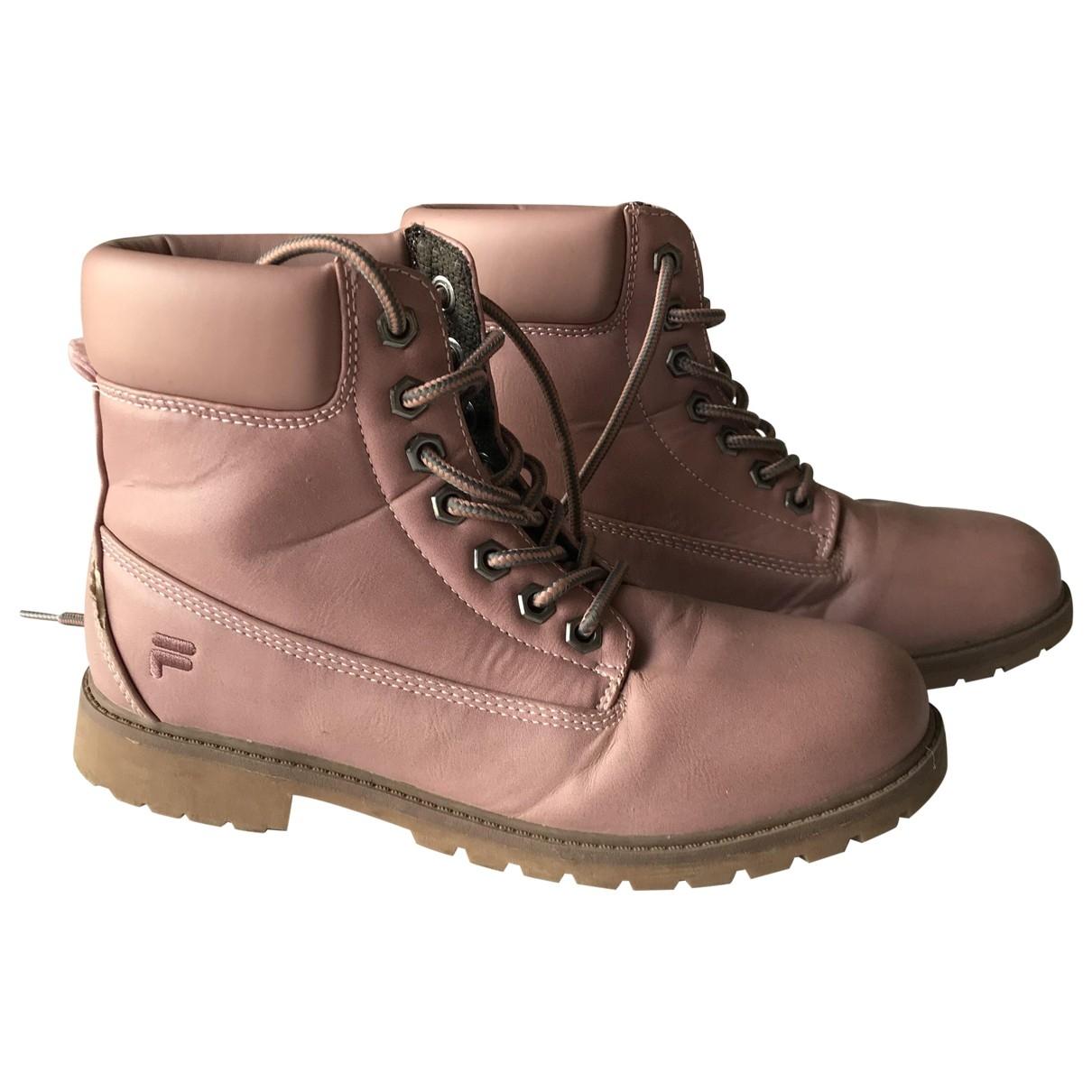 Fila - Boots   pour femme en cuir - rose