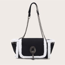 Tassel Decor Contrast Binding Shoulder Bag