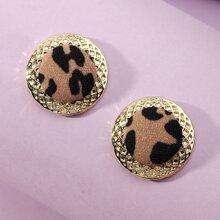 Runde Ohrstecker mit Leopard Muster
