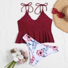 Bikini Badeanzug mit Blumen Muster, Raffungsaum und Band auf Schulter
