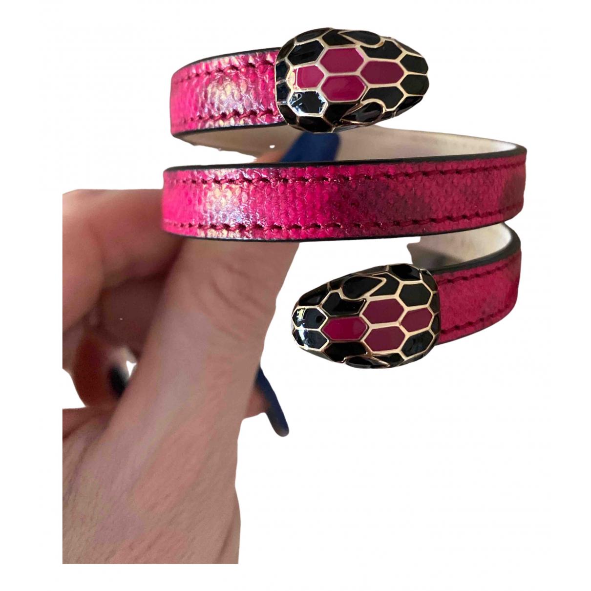 Bvlgari Serpenti Pink Leather bracelet for Women N