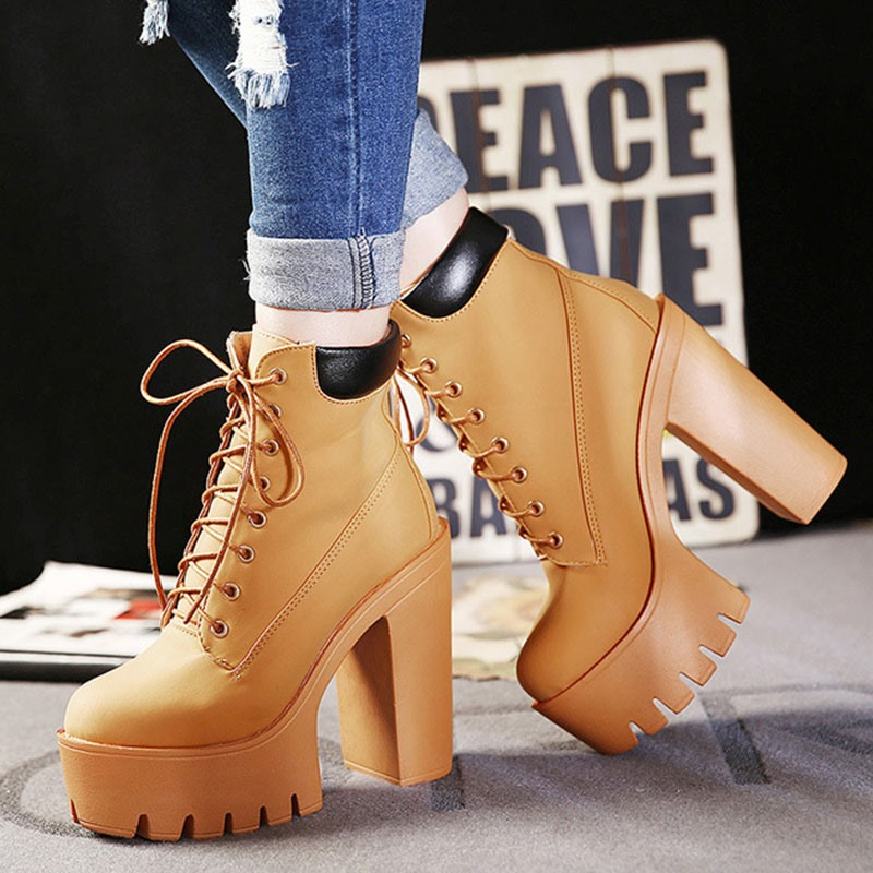 Ericdress Patchwork Round Toe Chunky Heel Women's Fashion Boots