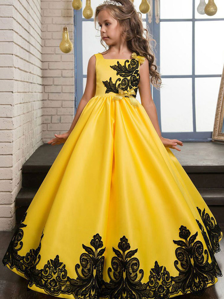 Milanoo Princess Flower Girl Dresses Yellow Lace Applique Bow Decor Kids Pageant Dresses
