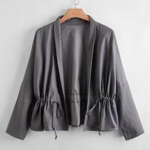 Plus Solid Drawstring Waist Jacket