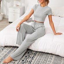 Crop T-Shirt mit rundem Kragen und Hose mit breitem Beinschnitt Schlafanzug Set