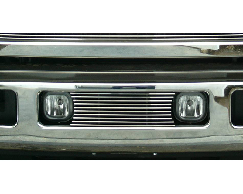 2005-2007 Super Duty, Excursion Billet Bumper Grille, Polished, 1 Pc, Bolt-On, Fits between factory Fog Lights - PN #25562
