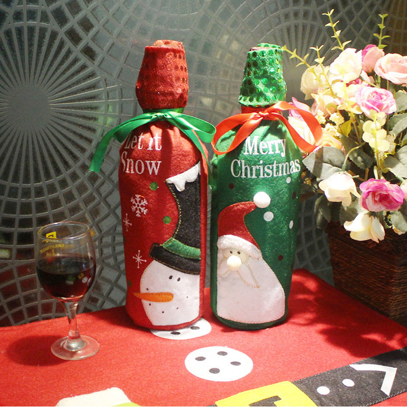 Creative Embroidery Christmas Wine Set Wine Bottle Decoration Christmas Decoration