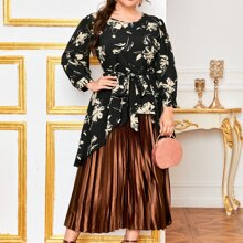 Plus Floral Print High Low Belted Blouse