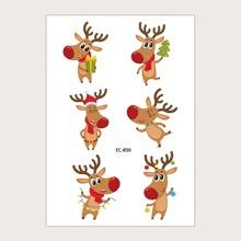 1 hoja tatuaje con patron de alce de navidad