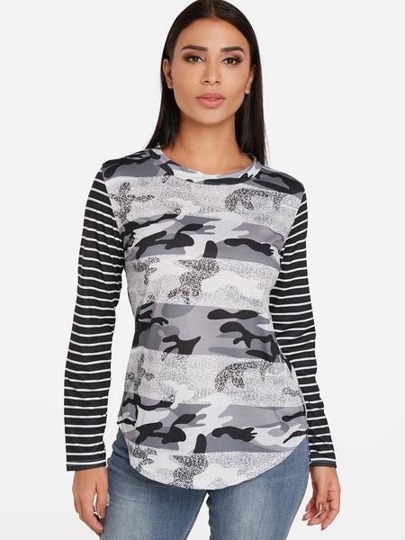 Yoins Black Camouflage Stripe Pattern Crew Neck Long Sleeves T-shirts