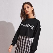 Sweatshirt mit Buchstaben Grafik und Ausschnitt