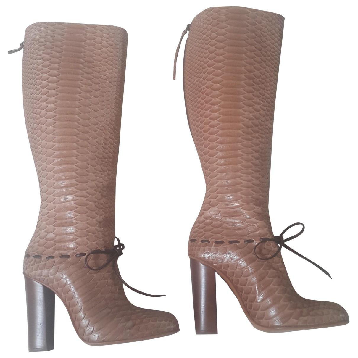 Chloe - Bottes   pour femme en python - camel