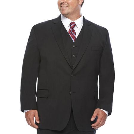 Stafford Travel Wool Blend Stretch Suit Jacket Big and Tall, 54 Big Long, Black