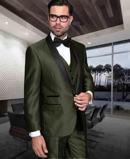 Men's 1 Button Shiny Tuxedo Modern Fit Vested Suit Dark Olive Green