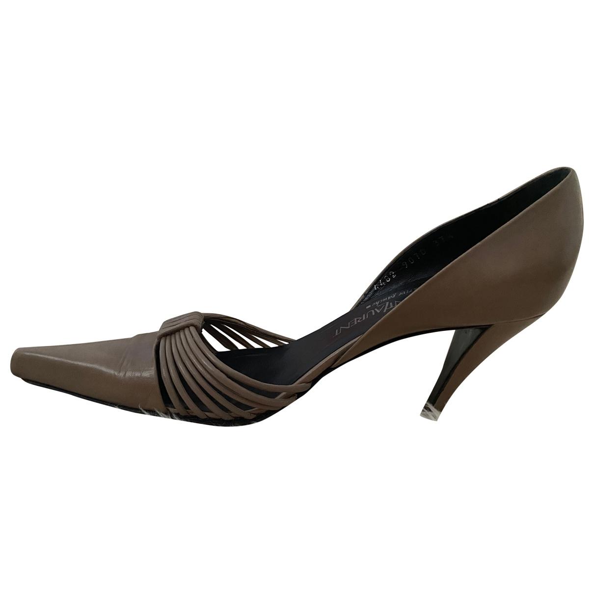 Yves Saint Laurent \N Beige Leather Heels for Women 37.5 EU